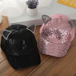 Mesh Cat Ear Sequins Snapback